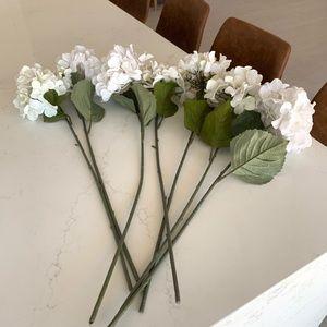Faux White Hydrangea Long Stems